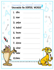Unscramble the Dental Words activity sheet - Pediatric Dentist in Southington, Plainville, Chesire and Bristol, CT