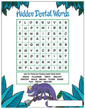 Hidden Dental Words activity sheet - Pediatric Dentist in Southington, Plainville, Chesire and Bristol, CT